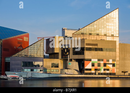 National Aquarium and USS Torsk at Inner Harbor of Baltimore Maryland - Stock Photo