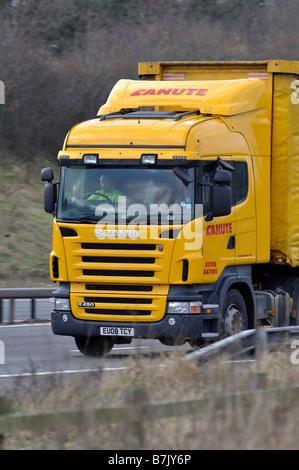 Scania truck on M40 motorway, Warwickshire, England, UK - Stock Photo