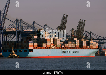 Container Ship leaving the Port of Felixstowe, Suffolk, UK. - Stock Photo