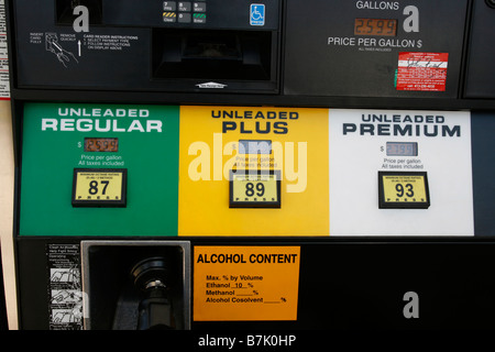 Closeup of a gas station pump showing octane ratings of unleaded, regular, plus and premium gasoline. - Stock Photo