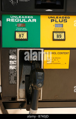 Closeup of a gas station pump showing ratings of unleaded regular and unleaded plus gasoline - Stock Photo