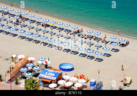 Beach in Scilla, province of Reggio Calabria, region of Calabria, southern Italy, opposite Sicily across the Messina - Stock Photo