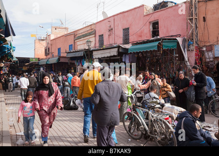 Marrakech Morocco North Africa Busy street market in a Souk in the Medina - Stock Photo