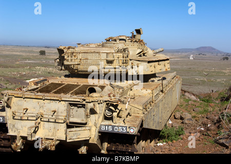Old Israeli Army Tank at Tel A-Saki in the Eastern Golan Heights - Stock Photo