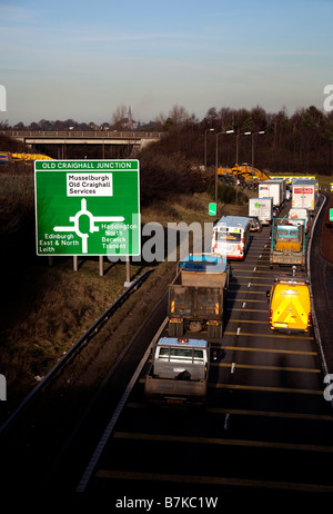 Busy traffic on Dual-carriageway bypass, Lothians, Scotland, UK, Europe - Stock Photo