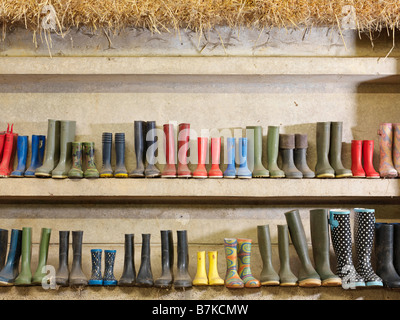 Wellington Boots Against The Wall - Stock Photo