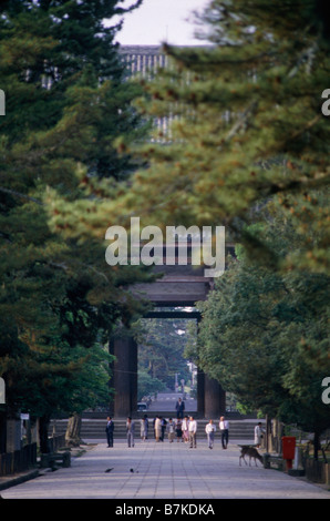 Kansai kinki region Street scene Signs Traffic People Approach to Kiyomizu Temple on hill KYOTO HONSHU ISLAND JAPAN - Stock Photo