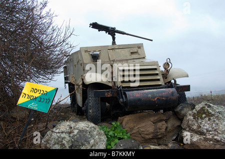 Old Israeli Army Armored Vehicle in Tel Faher - Stock Photo