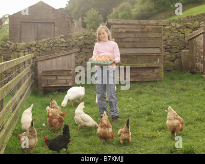 Girl Holding Tray Of Eggs With Hens - Stock Photo