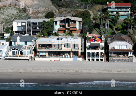 aerial view of malibu beach and waterfront homes and buildings los angeles LA california - Stock Photo