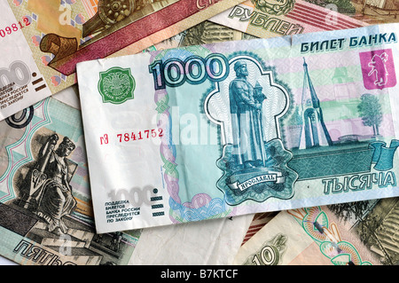 Russian currency - ruble notes - Stock Photo