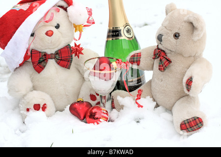 Teddy bears have a snow party - Stock Photo