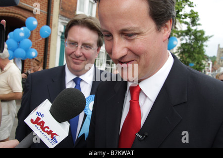 John Howell MP & Conservative Leader David Cameron in Henley on Thames Oxfordshire 2008 - Stock Photo