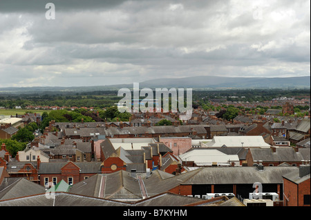 Elevated aerial general view over Carlisle city centre looking east - Stock Photo