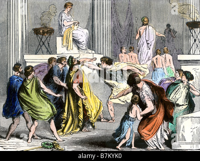 Assassination of King Philip of Macedon, father of Alexander the Great 336 BC. Hand-colored woodcut - Stock Photo
