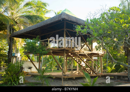 Rustic wooden beach house on stilts among palm trees in Brazil - Stock Photo