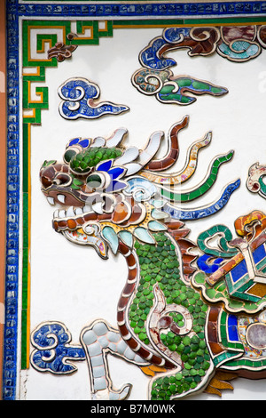Tile Dragon at Long Son Pagoda Nha Trang City Vietnam Asia - Stock Photo