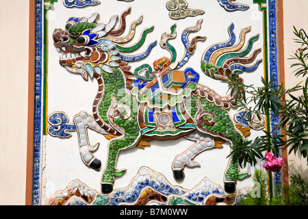 Tile Dragon at Long Son Pagoda Nha Trang City Vietnam Asia - Stock Photo