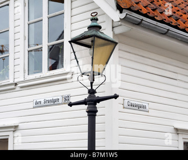 Detail of a street in Old Stavanger (Gamle Stavanger), with 18th and 19th century wooden buildings. - Stock Photo