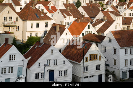 View of Old Stavanger (Gamle Stavanger), with 18th and 19th century wooden buildings. - Stock Photo