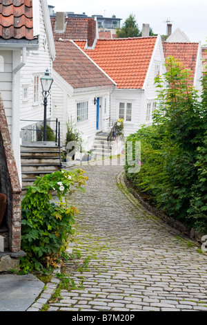 A street in Old Stavanger (Gamle Stavanger), with 18th and 19th century wooden buildings. - Stock Photo