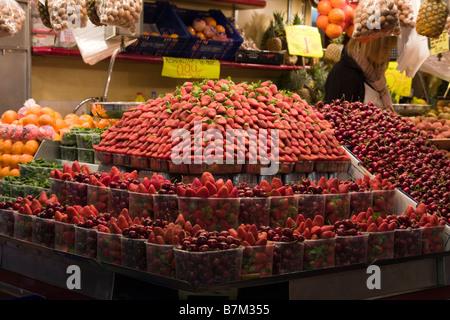 Stall in La Boqueria market in Barcelona Spain - Stock Photo