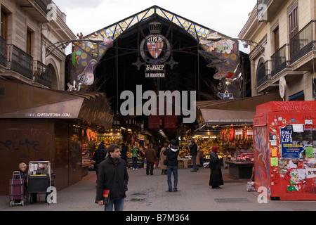 Entrance to La Boqueria market in Barcelona Spain - Stock Photo