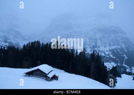 Barn or chalet on mountain above Grindelwald in Switzerland - Stock Photo