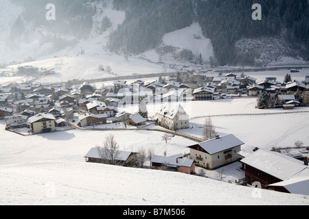 Rauris Austria EU January Looking down on this typical ski resort town in the Rauriser Sonnen Valley as the snow - Stock Photo