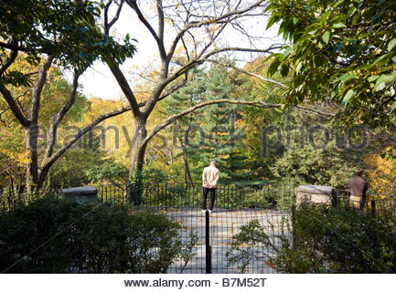 People admiring the view over Central Park, New York, USA. Nov 2008 - Stock Photo