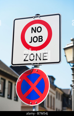 Concept sign at the start of a street - you are entering an area of high unemployment, poverty, deprivation - No - Stock Photo