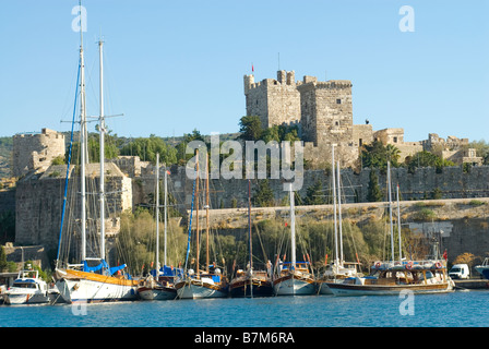 bodrum castle and boats - Stock Photo