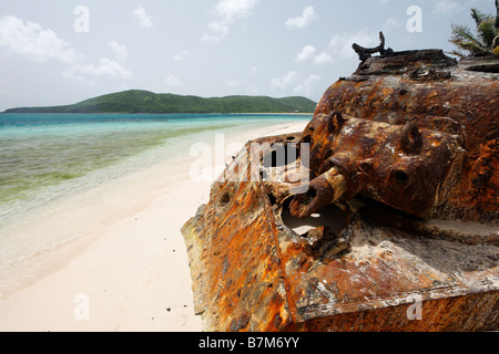 Close Up View of a Destroyed Sherman Tank on a Tropical Beach Flamenco Beach Culebra Puerto Rico - Stock Photo