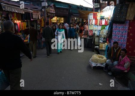Night scene of Street in Shimla. Himachal Pradesh. India. - Stock Photo