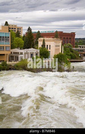 Spokane River in Major Flood Riverfront Park Spokane Washington State USA - Stock Photo