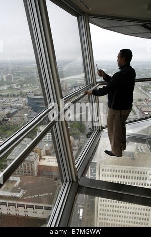 Calgary Tower, Observation Deck, Glass Floor, Calgary, Alberta, Canada - Stock Photo