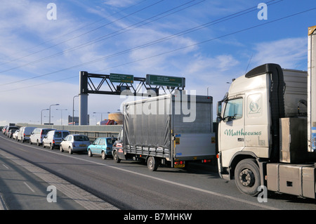 East London traffic congestion Canning Town London United Kingdom - Stock Photo