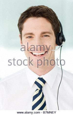 A man wearing a headset - Stock Photo