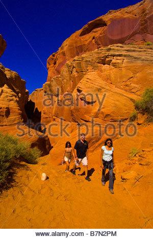 Hiking Secret Canyon slot canyon near Page Arizona USA - Stock Photo