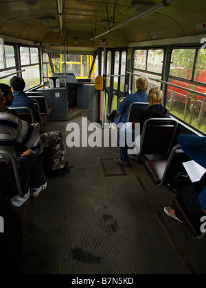 View from inside a tram on the streets of Krakow, Poland. - Stock Photo