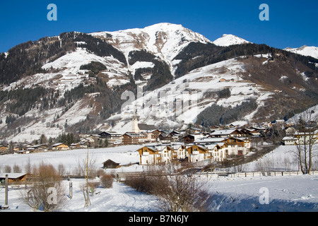 Rauris Austria EU January Looking down across this ski resort town from a Winterwanderweg cleared walking path - Stock Photo