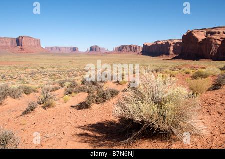 Panoramic view buttes and mesas Monument Valley Navajo Tribal Park Arizona USA - Stock Photo