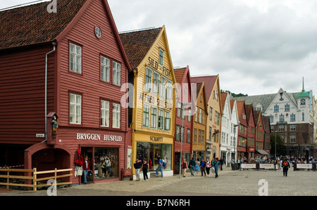 Bryggen, historic Hanseatic commercial buildings in Bergen, Norway - Stock Photo