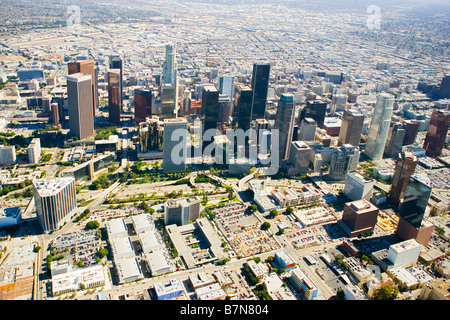 Downtown Los Angeles aerial view - Stock Photo