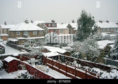 Snow covered suburbs in the february 2009 Snowstorm - Stock Photo