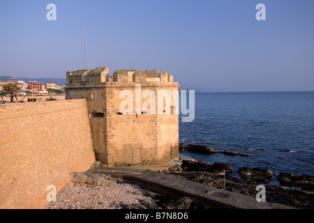 italy, sardinia, alghero, catalan walls, san giacomo tower - Stock Photo