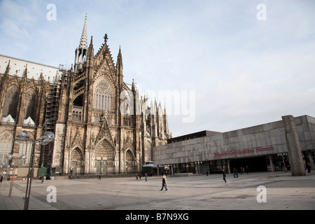 Cathedral Dom and Roman Germanic Museum Cologne Germany - Stock Photo