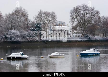 Heavy Snow Falls in London United Kingdom - Stock Photo