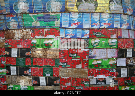 Wall made from flattened tin cans Hargeisa Somaliland - Stock Photo