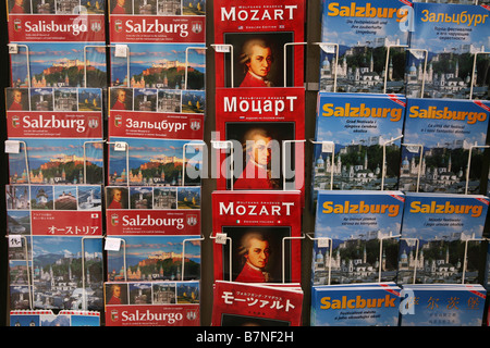 Guide books to Salzburg and books about Mozart in a souvenir shop in the historic centre of Salzburg, Austria. - Stock Photo